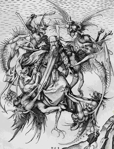 Martin Schongauer: Szent Antal megkísértése, 1470.